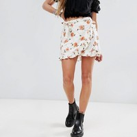 Motel Front Mini Skirt With Ruffle Trim In Light Floral at asos.com