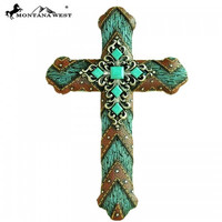 Turquoise Stone Wall Cross