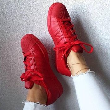 """""""Adidas"""" Shell-toe Sneakers Sport Shoes Pure Color Flats Red"""