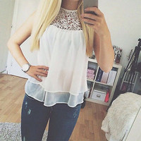 Women's White Chiffon and Lace Tank Top Blouse