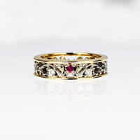 Ruby engagement ring with diamonds, filigree ring, wedding ring, pink ruby ring, ruby wedding, diamond, two tone, unique engagement, gold