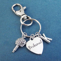 Personalized, Letter, Initial, Bridesmaid, Bouquet, Silver, Key ring, Keychain, Gift, Jewelry, Accessory