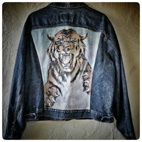 Amazing Levi's Denim Jacket with Hand Painted Tiger and Stripes - Large