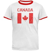World Cup Distressed Flag Canada White/Red Men's Ringer T-Shirt