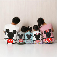 Family Matching Clothes 2016 Summer Short Cartoon Mickey T shirt For Mother and Daughter Father Son Family Look Outfits Clothing