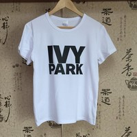 Summer Hot Sale T shirt Women ivy park Printed Pure Color Patchwork Round Neck All Match Casual Tops Black / Grey / White