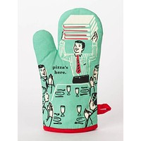 Pizza's Here Oven Mitt in Retro Mint Green