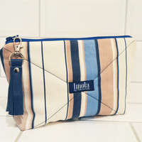 Cosmetic bag pouch pencil pouch beauty bag pencil case makeup bag zipper pouch striped eco-friendly upcycled with blue leather tassel
