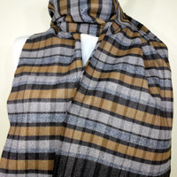 Gray and Yellow Scarf, Gray and Yellow Men's Scarf, Gray and Yellow Men's Scarf, Soft Men's Scarf - EV1410027