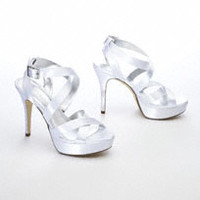 Dyeable Strappy Platform Sandal with Crystals