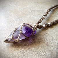 Amethyst Crystal Natural Hemp Necklace