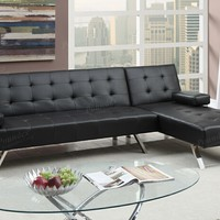 2 pc alisian ii collection black faux leather upholstered folding sofa and reversible chaise futon sectional set