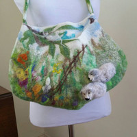 Felted Wool Spring Shoulder Bag with 3D Needle Felted Sheep in Meadow of Flowers. Boho Wearable Art Purse. Felted Textured Woodland Tote.