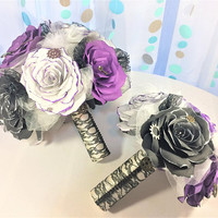 Steampunk themed wedding bouquet, Alternative paper flower bouquets, Small - medium - large size available, Purple and black paper bouquets