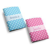 Custom Name Personalized PU Leather Passport Holder Case Travel Wallet Cover -- custom name monogram initial - polka dot cute design (N06)