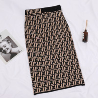 Fendi Fashion New More Letter Women Personality Skirt Khaki