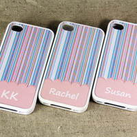 Custom Name Stylish Pink Pattern iPhone 4S & 4 Case,Rubber Material Full Protection