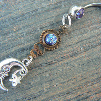 galaxy moon belly ring PURPLE  blue harlequin in beach summer moroccan belly dancer indie gypsy hippie morrocan boho and hipster style