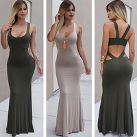Army Green Slim sleeveless dress backless high waist sexy dress women