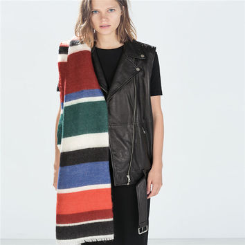 Ladies Winter Double Sided Stripes Patchwork Scarf [9572830799]