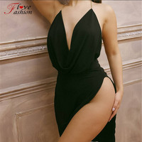 High quality deep V neck plunge women bodycon dress sleeveless High slit irregular Dresses Club Party sexy clothing Robe Femme