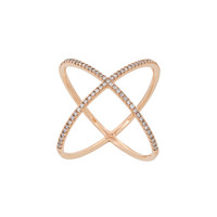 Eva Fehren X Ring - 18Kt Rose Gold Diamond Ring