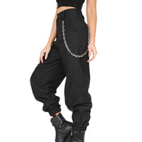 Women's Casual Cargo Pants With Chain