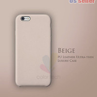 """New Luxury PU Leather Ultra-thin Case For Apple iPhone 6 4.7"""" / Plus 5.5"""" Beige"""