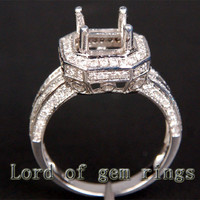 6x6mm Princess Cut Solid 14K White/Yellow/Rose Gold .71CT Diamonds Engagement Semi Mount Ring Settings