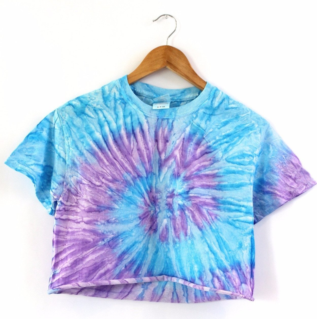Image of Purple and Blue Tie-Dye Unisex Cropped Tee