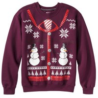 Men's Sweatervest Christmas Fleece Sweatshirt - Maroon