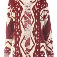 Aztec Knitted Cardigan / Wine - Womens Clothing Sale, Womens Fashion, Cheap Clothes Online   Miss Rebel