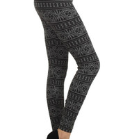 Tribal Diamond Print Fleece Leggings in Gray