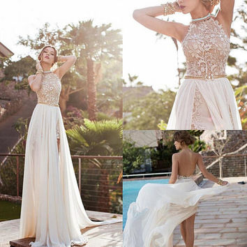 2015 Lace Applique Prom Dresses  Beaded Crystals Short Side Slit Backless Evening Gowns Halter Beach Wedding Dresses