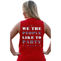 WE THE PEOPLE LIKE TO PARTY TANK IN FIRECRACKER RED BY JADELYNN BROOKE