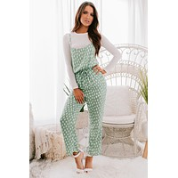 Daytime Date Printed Jumpsuit (Green)