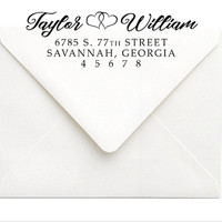Calligraphy Address Stamp   Self Inking Address Stamp, Rubber Stamp   Modern Couples Wedding Stationery Stamp   Personalized Wedding Gift