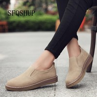 2018 Spring women flats sneakers shoes women slip on flat loafers suede leather shoes handmade boat shoes black oxfords