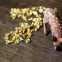 ceramic deer necklace // oh deer necklace // animal figurine necklace // unique jewelry