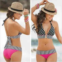 Plus size swimsuits 2017 polka dot tops bikinis pink black swimwear zebra striped bottoms bathing suits high waist swimming wear