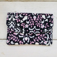 Fabric Wallet, women's wallet, women's gift idea, velcro or snap closure, ready to ship, black wallet, floral print, cute accessory