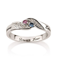 Personalized  Engraved Promise Ring Engagement Promise Ring 925 Sterling Silver, Couples Ring with Birthstones