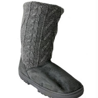 Women's Gray Knit Boots - Size 9 - Size 9