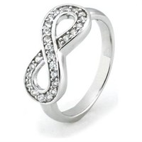 Sterling Silver Infinity Ring w/ Cubic Zirconia (Size 7) Available Size: 5, 6, 7, 8