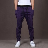 Men Fitness Long Pants Casual Sweatpants Baggy Jogger Trousers Fitted Bottoms Streetwear Hiphop Clothes