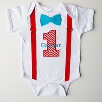 First Birthday Tee Shirt Suspenders Personalized  Bow by mamabijou