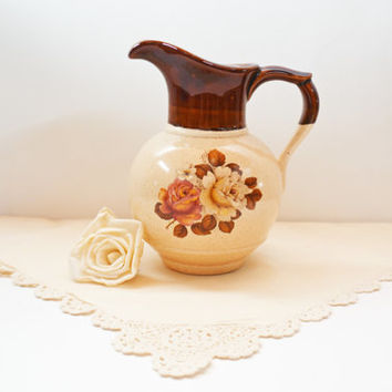 Vintage Water Pitcher, Brown and Tan Pitcher, Rare McCoy 7541, McCoy Pitcher, Rose Floral Pitcher, USA Pottery Pitcher, Bedside Pitcher