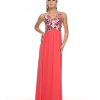 PRIMA Glitz GZ1512 Mirror Beaded Side Cut Out Evening Gown