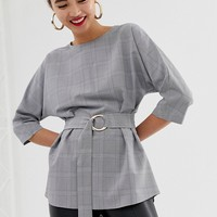 River Island top with belted waist in check | ASOS