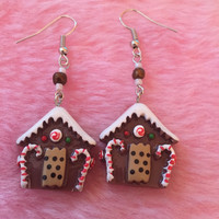 Gingerbread House Earrings with Candy Canes